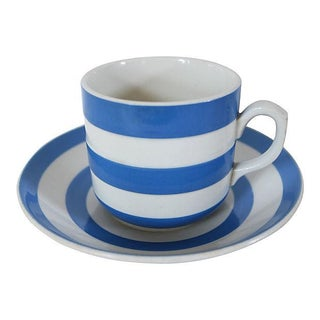 Vintage English Cornishware Cup & Saucer - A Pair