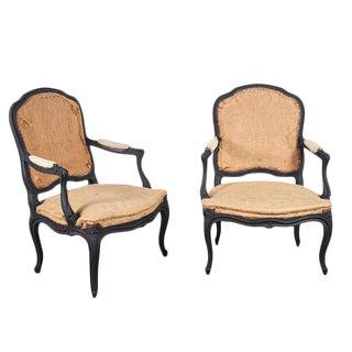 Louie XV Style Chairs in Matt Black - A Pair