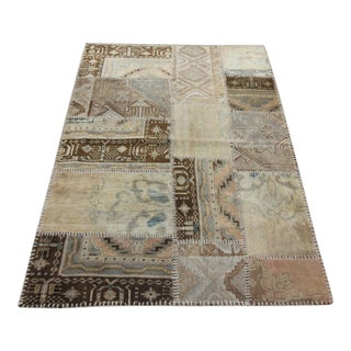 Turkish Vintage Overdyed Patchwork Oushak Rug - 3′7″ × 5′2″