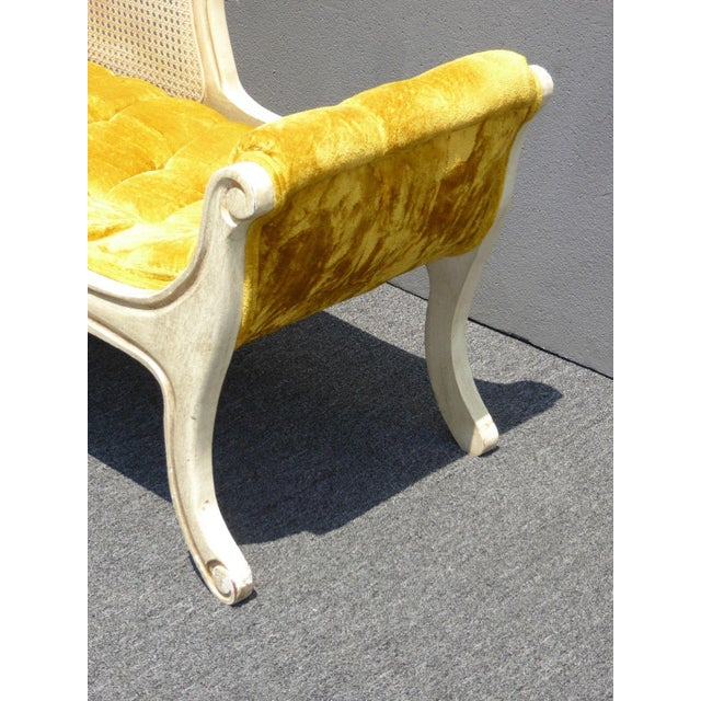 French Provincial White Cane & Gold Velvet Bench Settee - Image 10 of 11