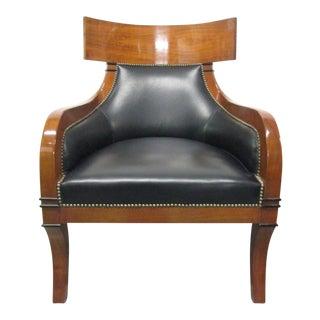 Leather Biedermeier Style Lounge Chair