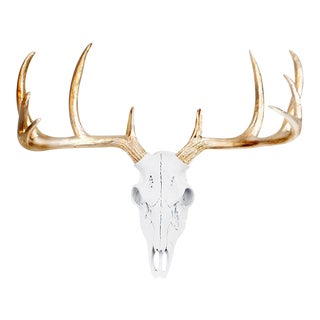 White & Gold Faux Deer Skull Wall Bust