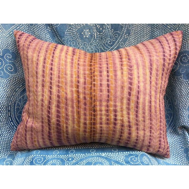 Burmese Hand Batik Linen Pillow - Image 2 of 7