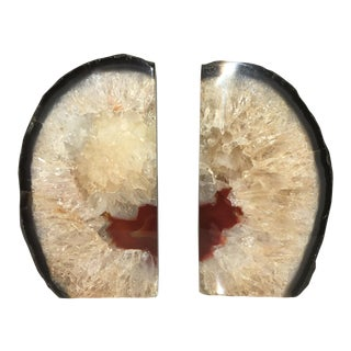 Geode Crystal Rock Bookends - A Pair