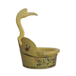 Chinese Yellow Flower Duck Shaped Wood Bucket