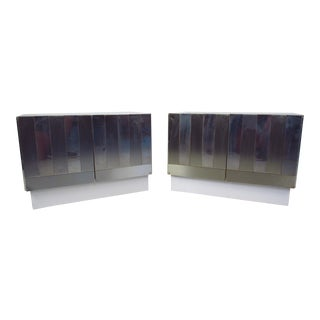 Paul Evans Style Chrome Plated Cabinets