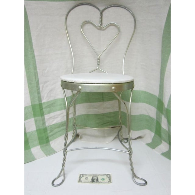 Vintage Metal Ice Cream Parlor Chair with Heart - Image 2 of 10