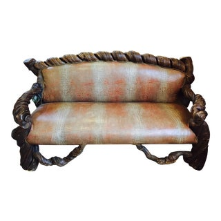 Crocodile-Stamp Cow Leather Couch