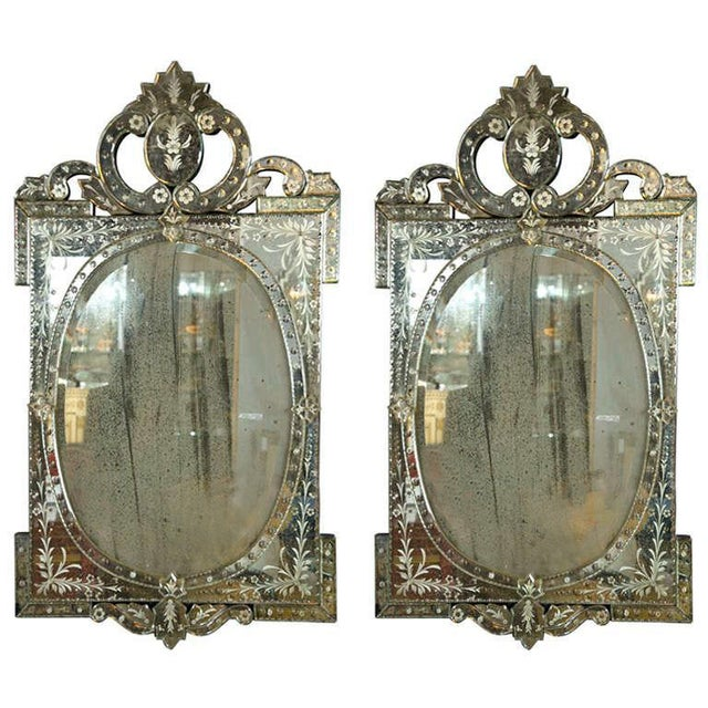 Venetian Style 1970s Etched Glass Mirrors - A Pair - Image 1 of 9