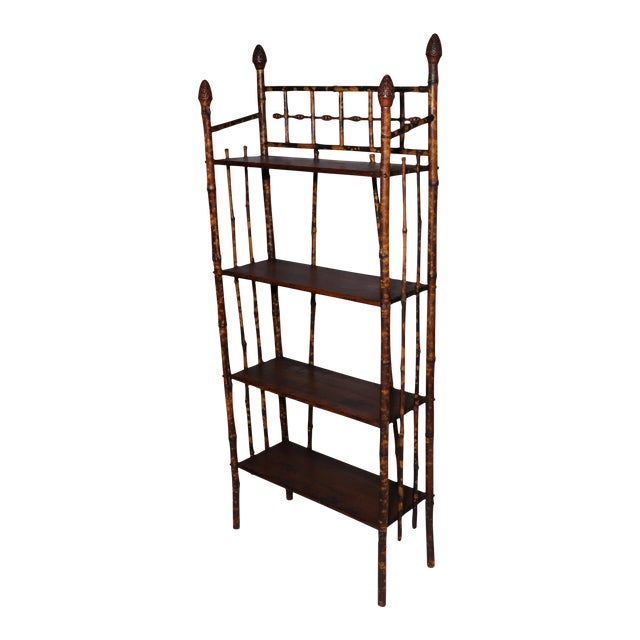 Image of Vintage Bamboo Shelves With Acorn Detail
