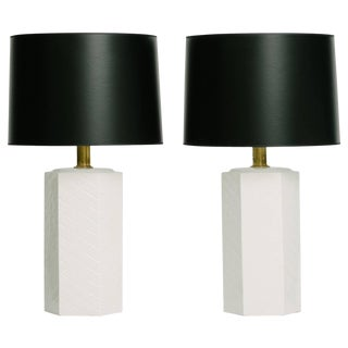 Pair of Vintage White Ceramic Hexagon Lamps by Empire Lamp Co.