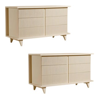 Nakashima Style American of Martinsville Six Drawer Chest, Pair Available