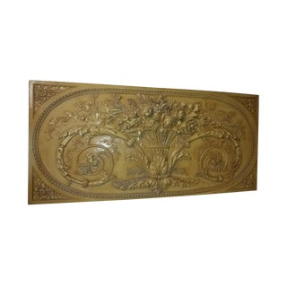 French Carved Basket of Flowers Relief Plaque