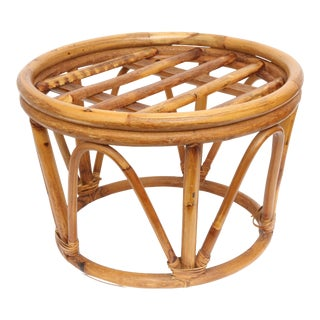 Vintage 70's Bamboo Ottoman or Side Table