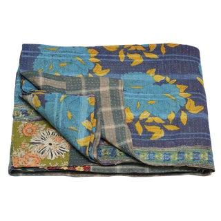 Blue Rose Vintage Kantha Throw