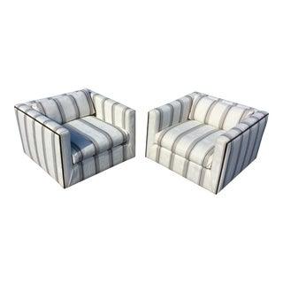 Milo Baughman Thayer Coggin Bronze Club Chairs - A Pair
