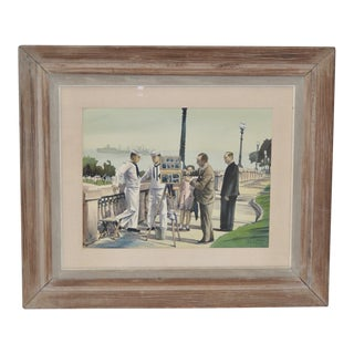 "1950s Vintage ""Naples, Italy with the 6th Fleet"" Original Watercolor by Louis Kaep"