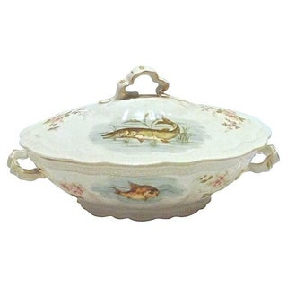 Antique Bavarian Fish Lidded Tureen