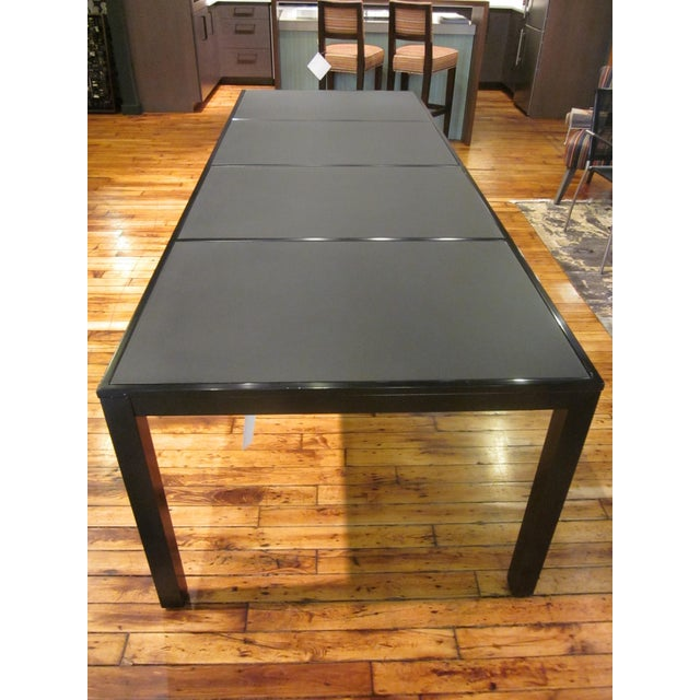 Image of Indoor/Outdoor Black Glass and Metal Dining Table