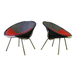 Mid Century Modern Woven Hoop Chairs, a Pair