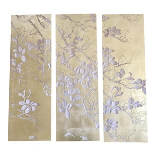 Byobu-Inspired Triptych of Hand Carved Gold Leaf Wooden Panels - Set of 3
