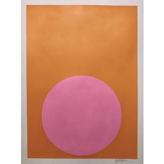 "Stephanie Henderson ""Palm Beach Pink Dot on Sunkissed Orange"" Original Painting"