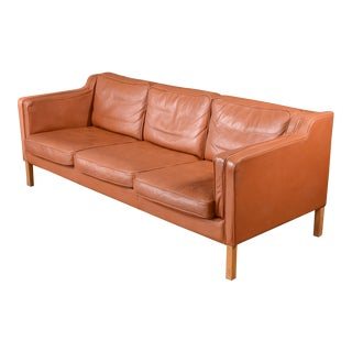 Borge Mogensen Style Leather Sofa
