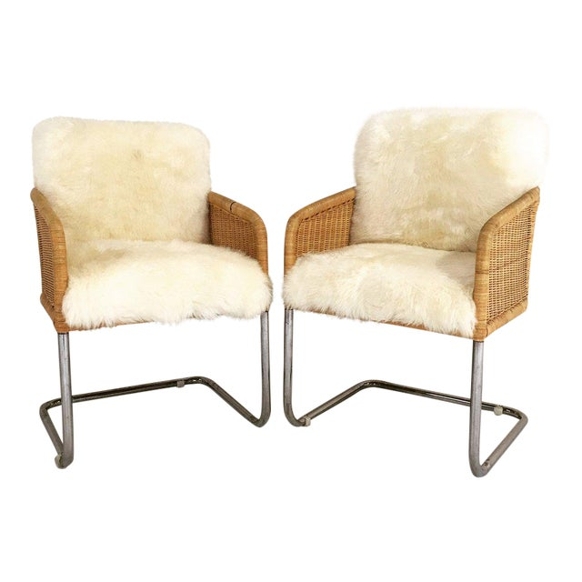 Image of Woven Chairs with Sheepskin Cushions - A Pair