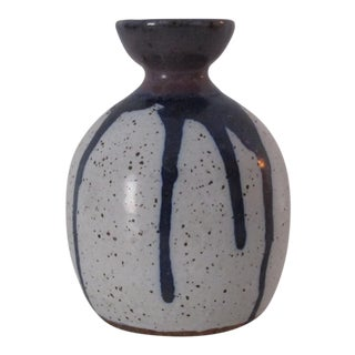 White & Blue Drip Glaze Vase