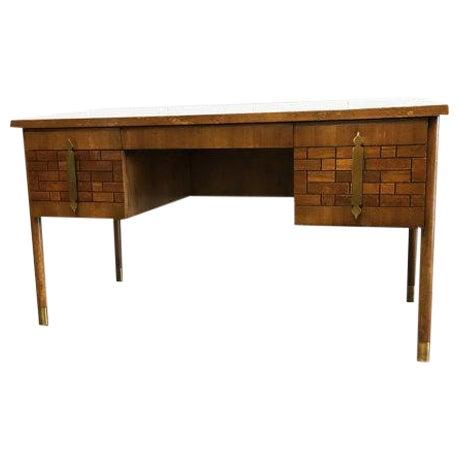 Mid-Century Modern Walnut Four Drawer Desk - Image 1 of 6
