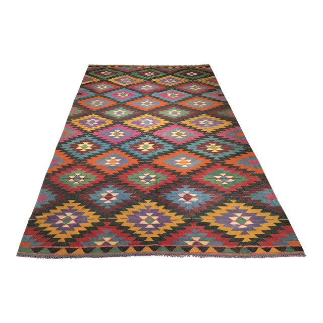 "Image of Vintage Turkish Kilim Rug- 5'3"" x 9'2"""