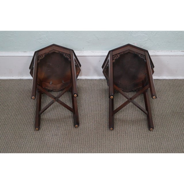 Madison Square Mahogany Chippendale Tables - Pair - Image 3 of 10