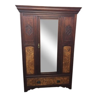 Vintage Armoire With Mirrored Door
