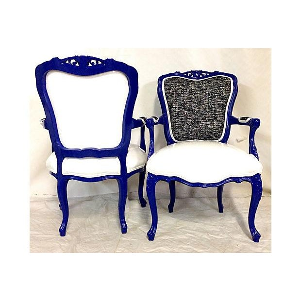 Vintage French-Style Lacquer Armchairs - Pair - Image 6 of 7