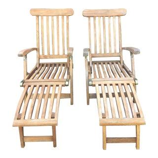 Vintage Teak Wood Deck Folding Lounge Chair - A Pair