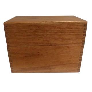 Vintage Golden Oak Wooden Index Box