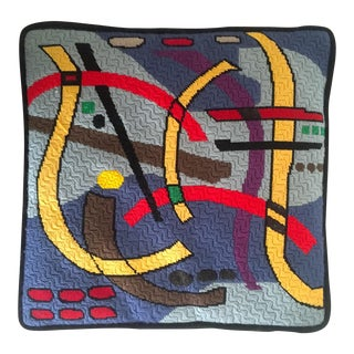 Art Deco Bargello Style Abstract Needlepoint Pillow