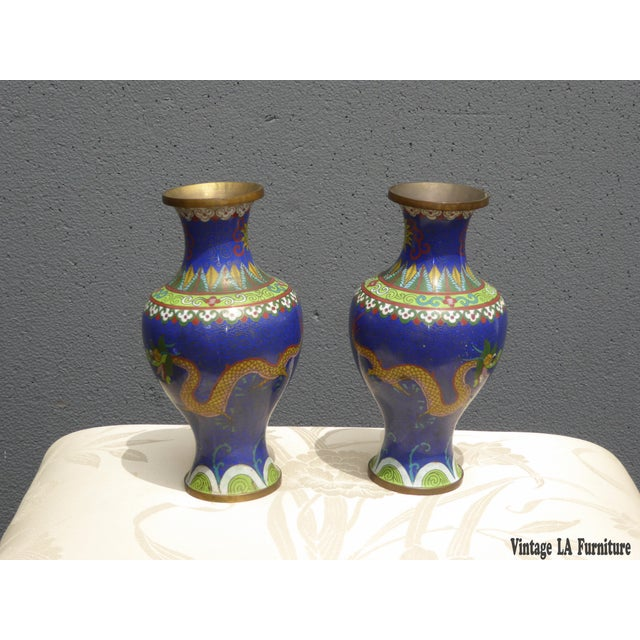 Vintage Chinese Cloisonne Brass Painted Blue Dragon Vases - A Pair - Image 3 of 11