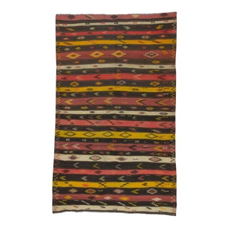 Handwoven Vintage Striped Embroidered Turkish Kilim Rug - 6′4″ × 10′4″