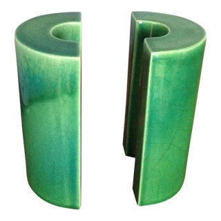 Raymor Green Ceramic Bookends - A Pair