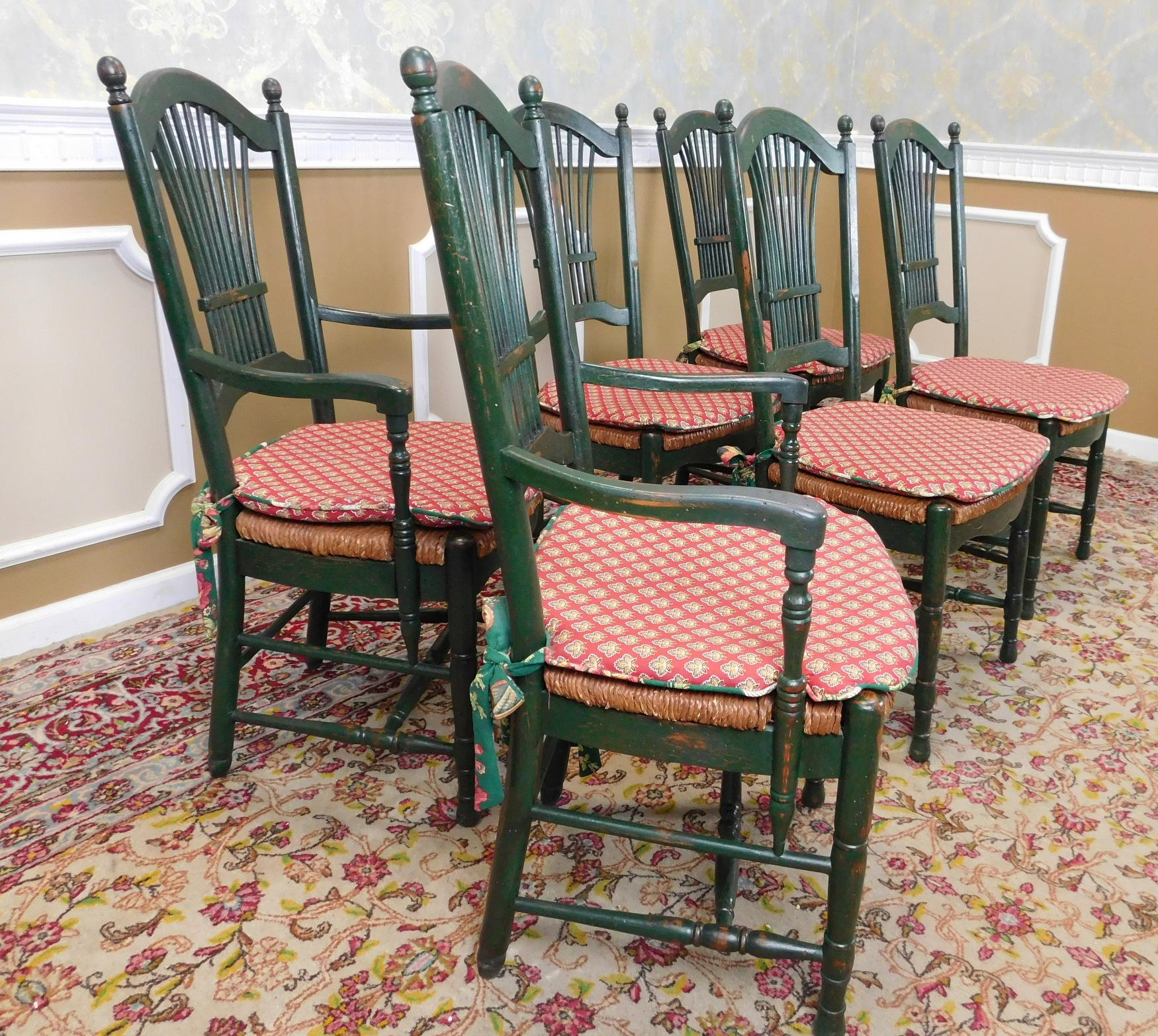 Kitchen Chairs Ireland: Painted Green Caned Seat Sheaf Back Kitchen Chairs