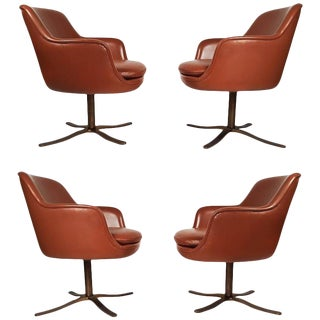 Set of Four Leather Nicos Zographos Dining Chairs with Oil Rubbed Bronze Bases