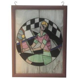 Signed Art Deco Stained Glass of Women Playing Tennis