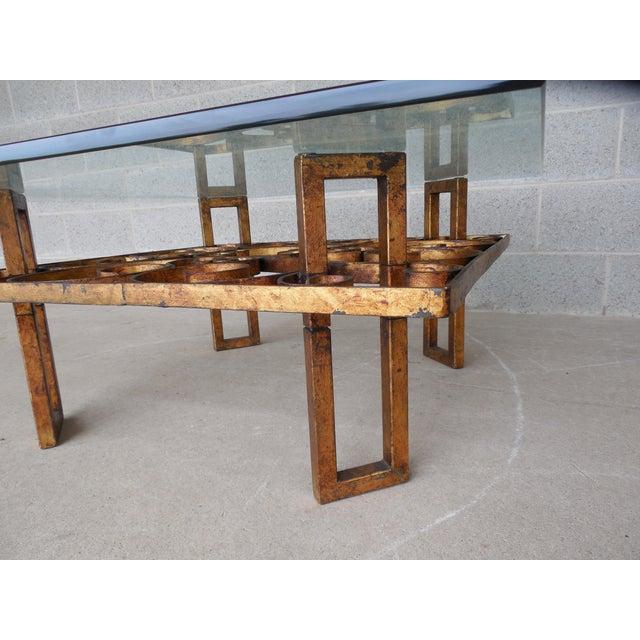 Vintage Hollywood Regency Wrought Iron Design Base Glass