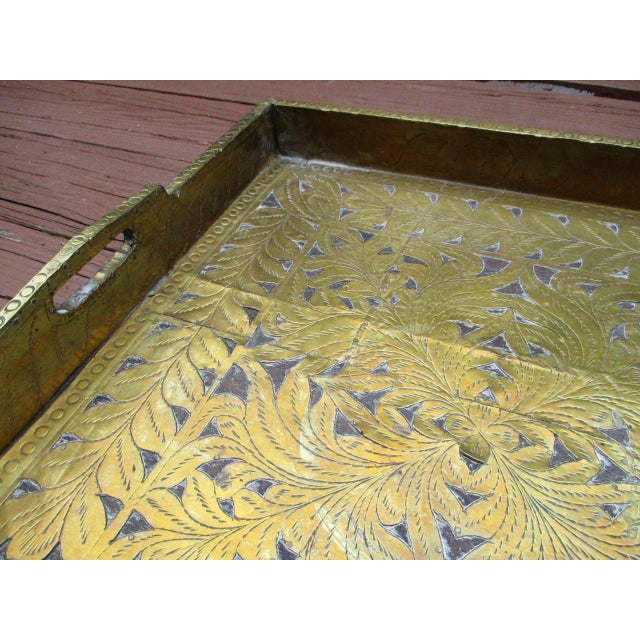 Antique Ornate Hammered Brass Wood Serving Tray - Image 4 of 11
