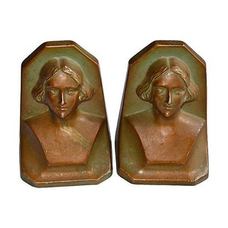 New York 1930's Serious Woman Bookends - a Pair