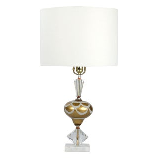 Italian Crystal & Marble Table Lamp