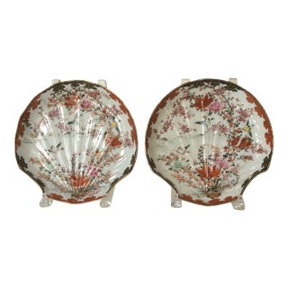 Antique Japanese Shell Shaped Plates - A Pair