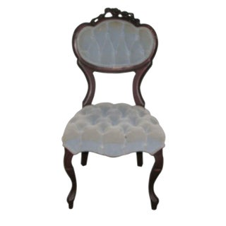 Tufted Sky Blue Victorian Carved Ladys Seat