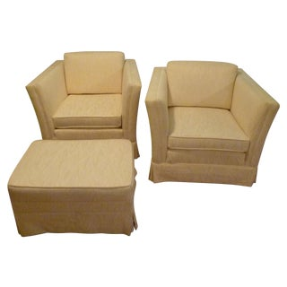 Transitional Club Chairs & Ottoman - Set of 3 White